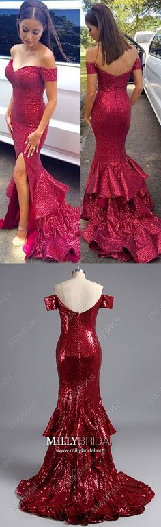 Long Prom Dresses,Burgundy Formal Evening Dresses with Sleeves,Mermaid Graduation Dresses with Slit,Off-the-shoulder Wedding Party Dresses Sequins,Sparkly Military Ball Dresses For Women #MillyBridal #partydress #promdresses #graduationdresses