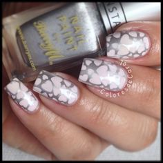 Pink heart nail-art best for Valentine's or Wedding. Using 'Wedding Bliss' stamping image plate Cute Nail Polish, Cute Nails, Pretty Nails, My Nails, Heart Nail Art, Heart Nails, Pastel Pink Nails, Romantic Nails, Stamping Nail Art