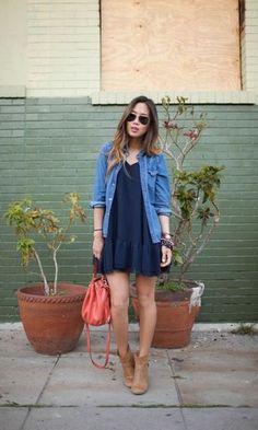Look Camisa Jeans + Vestido Preto