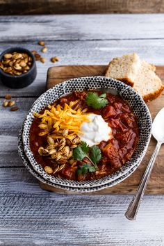 Crockpot Chipotle Pulled Pork Pumpkin Chili w/Cinnamon Roasted Pumpkin Seeds
