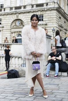 Keeping the #FauxFur trend chic. #LFW