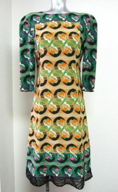 Marni Silk Crepe Dress Green Tan Abstract Print EXC Cond Summer 2012 Sz 40 Small | eBay