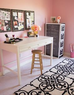 Chic pink craft room with lots of organization ideas for all your craft supplies!