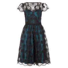 Voodoo Vixen May jurk met kanten bovenlaag en kapmouwen teal blauw/zwa