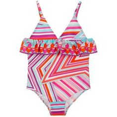 * New Summer'19 Collection *  Gorgeous swimsuit with colorful graphics by Emilio Pucci Junior. It has a ruffled design and thin shoulder straps, made from a soft stretchy fabric.  Ruffled Chest Design Comes in Carrying Bag iconic Colorful Graphics Soft Stretchy Fabric 72% polyamide, 28% elastane