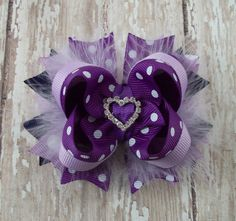 Multi Purple Bow Fluffy Boutique Bow with Rhinestone Heart Slider Center on Etsy, $6.99