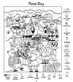 Hidden Picture Games, Hidden Picture Puzzles, Fun Activities For Kids, Worksheets For Kids, Book Activities, Drawing Lessons For Kids, English Lessons For Kids, Highlights Hidden Pictures, Hidden Pictures Printables