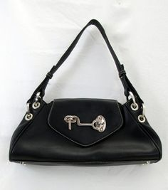 Black Faux Leather Shoulder Bag Purse Handbag Fashion Accessory | eBay