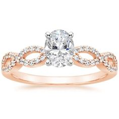 Oval Cut Infinity Diamond Engagement Ring - 14K Rose Gold