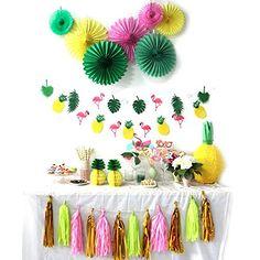 SUNBEAUTY Pineapple Party Decoration Set Summer Luau Beach Birthday Wedding 9 1