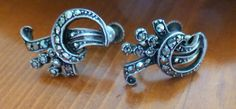 Vintage Marcasite Srew Back Earrings Sterling Silver 925, Art Deco Marcasite Earrings, Gift for Her, Christmas Gift by MuskRoseVintage on Etsy