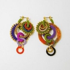 Crochet Ear Rings with many round