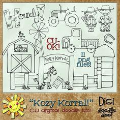Kozy Korral Country Farm CU doodles , cudigitals.com,cu,commercial,digi,digital,scrap,scrapbook,graphic,