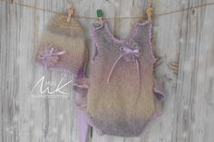 Onesie hand knitted in mohair to fit newborn or reborn dolls lilac and pink shades with ruffles on the back