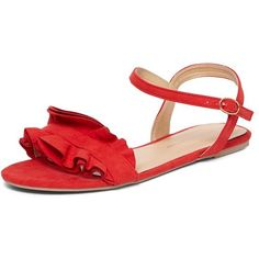 7c58127829c3 Dorothy Perkins Red  flutter  ruffle sandals (450 MXN) ❤ liked on Polyvore  featuring shoes