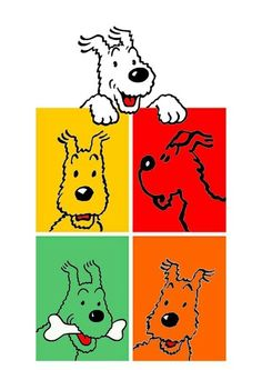 Milou colours Bd Comics, Funny Comics, Herge Tintin, Felix The Cats, Wire Fox Terrier, Vinyl Toys, Comic Character, Dog Art, Vintage Posters