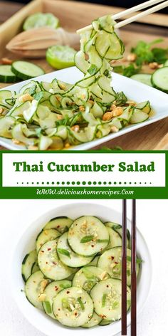 Simple Asian Cucumber Salad -- this super light and refreshing Asian cucumber salad recipe is perfect for hot summer days. Rice vinegar and dark sesame oil, along with toasted sesame seeds, give it a delicious oriental flair! Asian Cucumber Salad, Cucumber Recipes, Veggie Recipes, Asian Recipes, Vegetarian Recipes, Dinner Recipes, Cooking Recipes, Healthy Recipes, Cucumber Salad Vinegar