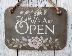 A great Open Closed double sided business door sign for your Shop, Salon, Store or Cafe. This Open / Closed wood sign with grey distressed background and white lettering and Vintage roses design. The letters are painted by hand with chalk paints. Leaf decors painted with stencil.