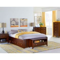 Pulse Cherry King Platform Bed with Storage