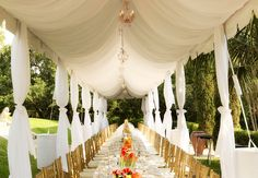 Long and narrow tent dressed up with a liner, chandelier, and gold Chiavari chairs. Don't need lining ($) .