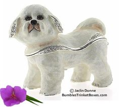 A fluffy bichon is finished in white and brown enamel. Each box is crafted in pewter or brass with beautiful detail. Music Boxes, Pretty Box, Bichon Frise, Little Boxes, Keepsake Boxes, Trinket Boxes, Teapots, Jewelry Box, Dinosaur Stuffed Animal
