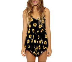 75f6e5391623 YiYaYo Women Summer overalls Casual Sleeveless Floral Print Jumpsuit  Rompers Playsuit M -- Be sure