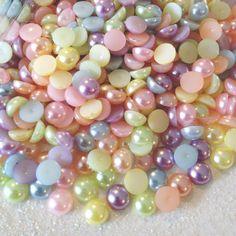 7mm pearls - mixed pastel colors - 200 pieces- U.S. SELLER, , diy, kawaii, cabochon, flatback