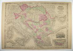 1800s Vintage Map Greece Austria Map Balkan Peninsula 1867 Johnson Map, Transylvania Turkey Map, Europe Travel Map Antique Art Gift available from OldMapsandPrints on Etsy
