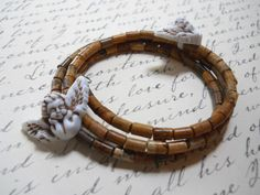 Memory Wire Bangle  Wood Motif Beads w/Angel Accent Beads by T-World Design ► http://etsy.me/1A66i19