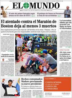 Los Titulares y Portadas de Noticias Destacadas Españolas del 16 de Abril de 2013 del Diario El Mundo ¿Que le parecio esta Portada de este Diario Español?