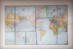 Canvas Map: Take a plain paper map and wrap it around a variety of canvases. You may need a few maps to get the countries to line up perfectly. (via Little Birdie Secrets)