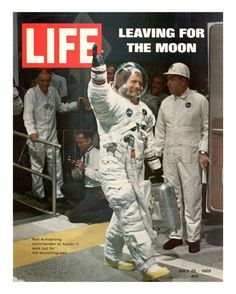 Leaving for the Moon, Astronaut Neil Armstrong in Spacesuit Waving, July 25…
