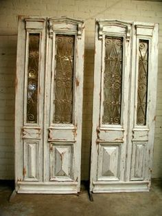 39 new ideas for french door repurposed architectural salvage Interior Double French Doors, Antique French Doors, Vintage Doors, French Antiques, Double Doors, Stained Glass Door, Stained Glass Panels, Leaded Glass, Antique Interior