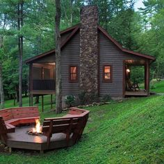 Is this beautiful fire pit up to code? Remember to check your local laws before building! Tiny House Cabin, Log Cabin Homes, Small Log Cabin, Log Cabins, Luxury Cabin, Forest House, Forest Cottage, Forest Cabin, Cabins And Cottages