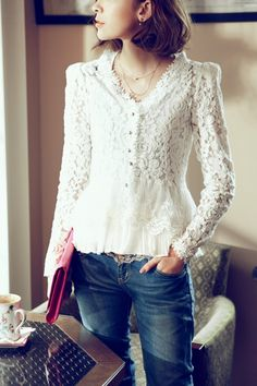 structured lace and denim
