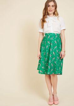 Shape, line, and form unfold fashionably as you drift past delicate flower displays in this smooth, green A-line skirt - a part of our ModCloth namesake label! Printed with an array of colorful birds, and updated with handy belt loops, this high-waisted skirt is truly worth treasuring - just like the perfected works you pass!