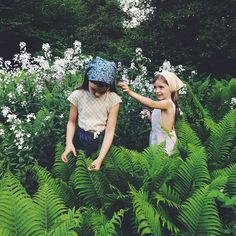 💚🌿💚🌿 Weekend loveliness - Maya and Elle in the handkerchiefs we collaborated on with @kirstenrickert - Liberty of London florals chosen to complement our SS15 collection 💚🌿💚