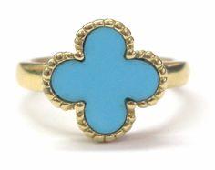 Van Cleef & Arpels 18Kt Alambra Turquoise Clover Ring