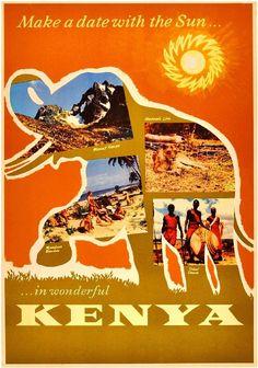 Kenya Africa Elephant Nairobi Vintage African Travel Advertisement Art Poster  #Vintage