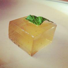 Mint Julep jello shots with mint leaf garnish