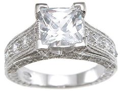 Sterling Silver Cubic Zirconia CZ Princess Cut Engagement Promise Ring Size 5 6 7 8 9 and 10 for only $36.99 You save: $23.00 (38%) + Free Shipping