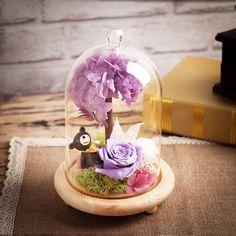 中秋节里礼品永生花玫瑰礼盒玻璃罩送闺蜜小熊创意礼品送女男友