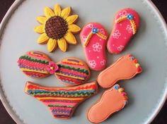 beach theme cookies - love the painted toenails! Summer Beach Party, Summer Kids, Iced Cookies, Cupcake Cookies, Bikini Cookies, Cookie Crush, Summer Cookies, Shaped Cookie, Backyard Bbq