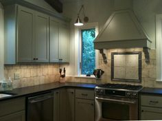 Kitchen Awesome Kitchen Concepts For Portion of the Price: Awesome Lakehouse Kitchen Backsplash Tile Along With Gas Range With Self Cleaning Convection Oven In Stainless Steel And A Single Bronze Pendant Lamp Wall Stone Decor Washbasin