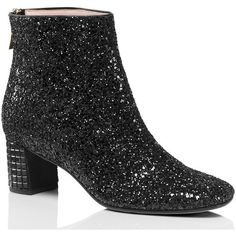 Kate Spade Tal Boots ($398) ❤ liked on Polyvore featuring shoes, boots, kate spade shoes, black polishable shoes, shiny black boots, black glitter shoes and stone boots