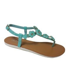 Look what I found on #zulily! De Bengonia Aqua Flower T-Strap Sandal by De Bengonia #zulilyfinds