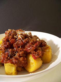 Hey, that tastes good!: Lamb Ragu and Polenta Triangles