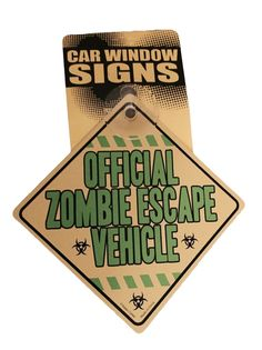 Official Zombie Escape Vehicle Hard Plastic Suction  Vehicle Car Sign