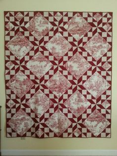 Lit and Laundry: red and white toile quilt