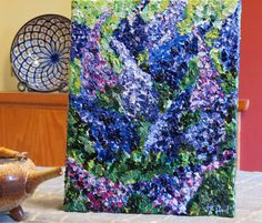 Original Acrylic Painting - Lilacs - Ready to Hang - Impressionism - Texture Painting - Purple Blue Flowers - Light and Shadow - Gift Idea by CreateThriveGrow on Etsy